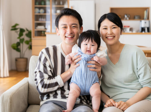 portrait of young asian family